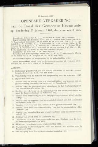 Raadsnotulen Heemstede 1968-01-25