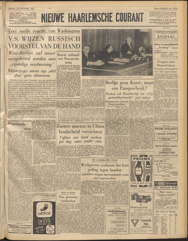 Nieuwe Haarlemsche Courant 1958-11-28