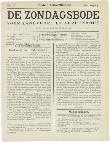 De Zondagsbode voor Zandvoort en Aerdenhout 1912-11-03