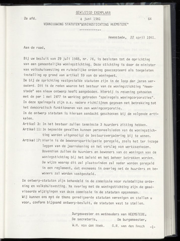 Raadsnotulen Heemstede 1981-06-04