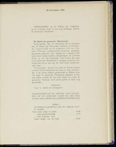 Raadsnotulen Heemstede 1909-11-30