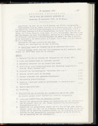 Raadsnotulen Heemstede 1978-09-28
