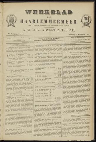 Weekblad van Haarlemmermeer 1885-11-07