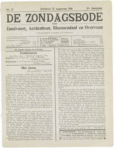 De Zondagsbode voor Zandvoort en Aerdenhout 1916-08-27