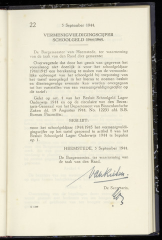 Raadsnotulen Heemstede 1944-09-05