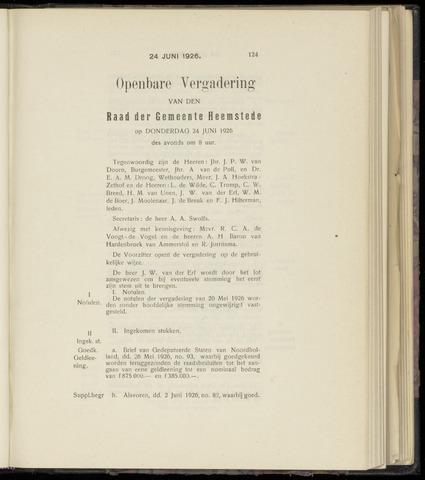 Raadsnotulen Heemstede 1926-06-24