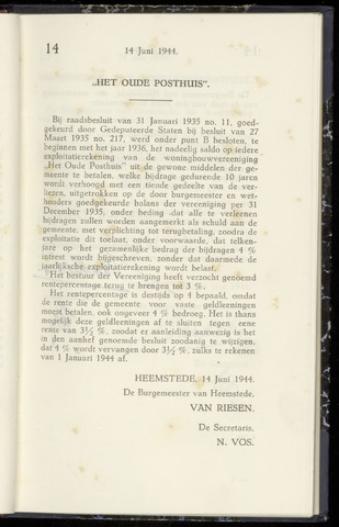 Raadsnotulen Heemstede 1944-06-14
