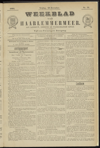 Weekblad van Haarlemmermeer 1884-12-19