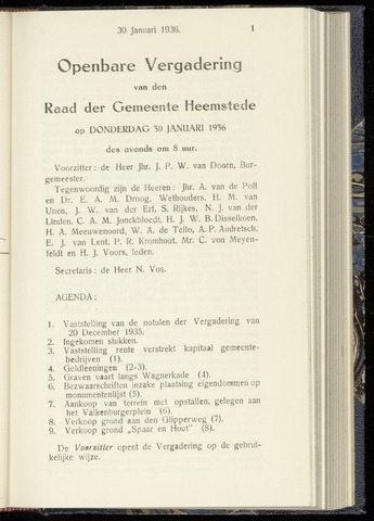 Raadsnotulen Heemstede 1936-01-30