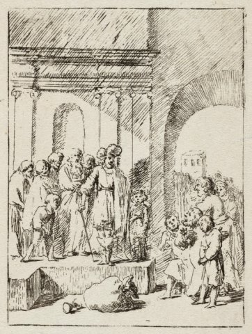 Juda smeekt Jozef hem tot slaaf te nemen en niet zijn jongste broer Benjamin [Genesis 44:1-34]. <br> Ets, tegendruk van NL-HlmNHA_1477_53010319.
