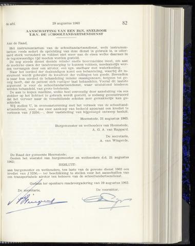 Raadsnotulen Heemstede 1963-08-29