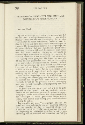 Raadsnotulen Heemstede 1929-06-27