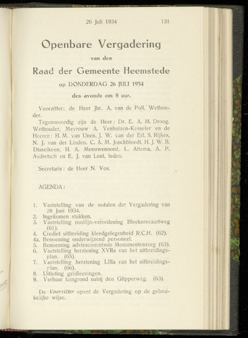 Raadsnotulen Heemstede 1934-07-26