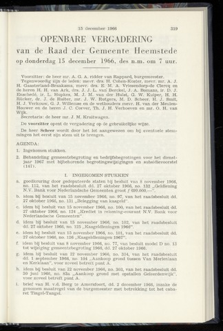 Raadsnotulen Heemstede 1966-12-15