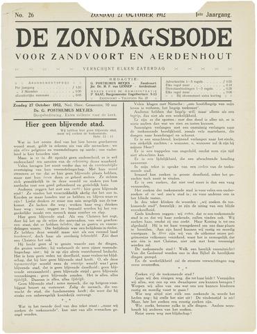 De Zondagsbode voor Zandvoort en Aerdenhout 1912-10-27