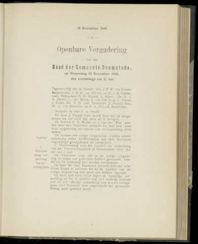 Raadsnotulen Heemstede 1916-11-15