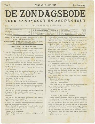 De Zondagsbode voor Zandvoort en Aerdenhout 1912-05-12
