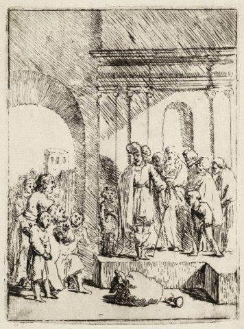 Juda smeekt Jozef hem tot slaaf te nemen en niet zijn jongste broer Benjamin [Genesis 44:1-34]. <br> Ets.