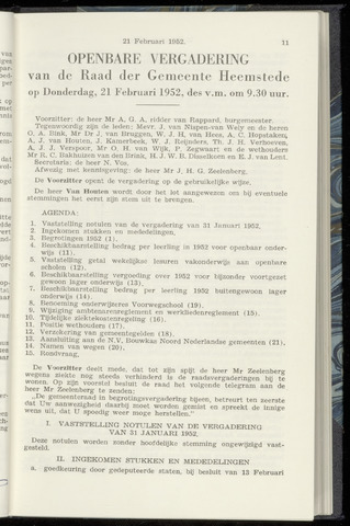 Raadsnotulen Heemstede 1952-02-21