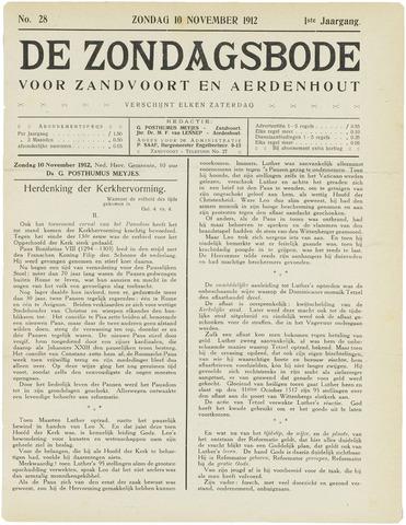 De Zondagsbode voor Zandvoort en Aerdenhout 1912-11-10