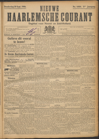 Nieuwe Haarlemsche Courant 1906-09-20