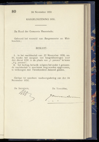 Raadsnotulen Heemstede 1931-11-24