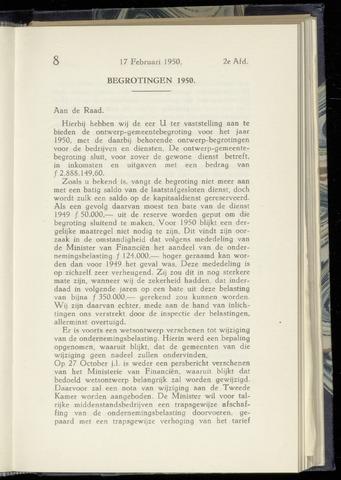 Raadsnotulen Heemstede 1950-02-17