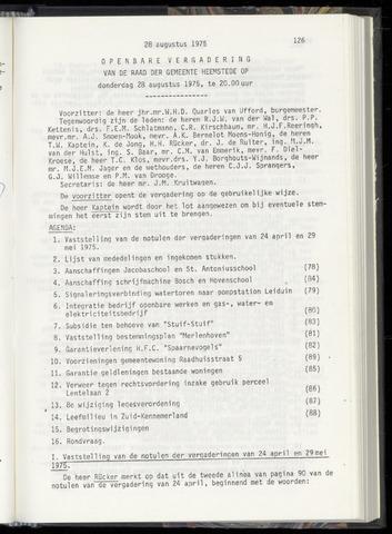 Raadsnotulen Heemstede 1975-08-28