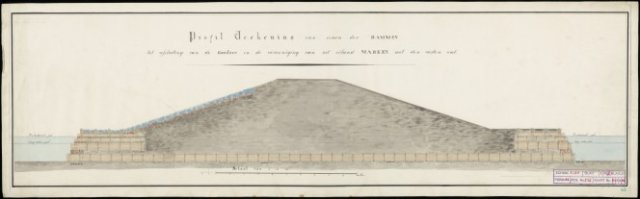 Profiltekening van eenen der dammen tot afsluiting van de Gouwzee en Vereenigig van het eiland Marken met den vasten wal. 2 exemplaren. Kleur