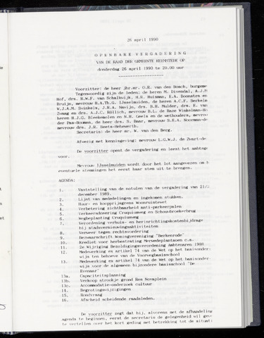Raadsnotulen Heemstede 1990-04-26