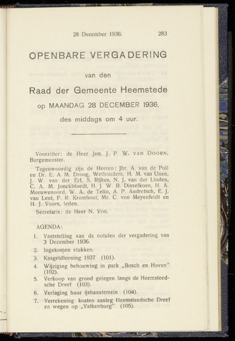 Raadsnotulen Heemstede 1936-12-28