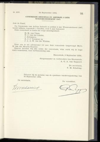 Raadsnotulen Heemstede 1954-09-30