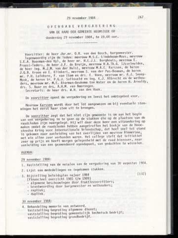 Raadsnotulen Heemstede 1984-11-29