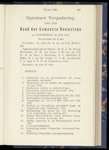 Raadsnotulen Heemstede 1931-07-30