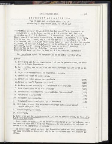 Raadsnotulen Heemstede 1976-09-30