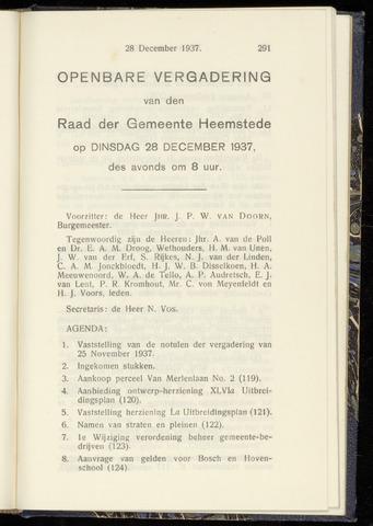 Raadsnotulen Heemstede 1937-12-28