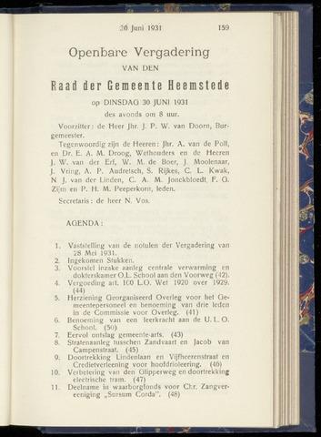 Raadsnotulen Heemstede 1931-06-30