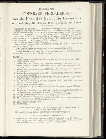 Raadsnotulen Heemstede 1959-10-29