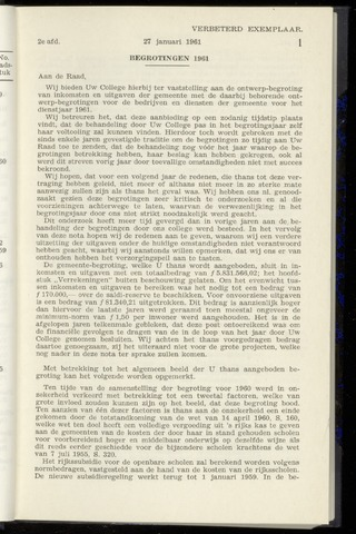 Raadsnotulen Heemstede 1961-01-27