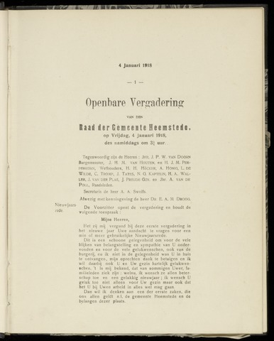 Raadsnotulen Heemstede 1918-01-04