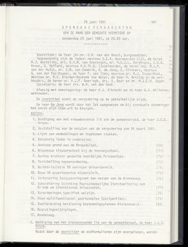 Raadsnotulen Heemstede 1981-06-25