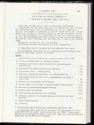 Raadsnotulen Heemstede 1980-09-25