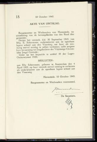 Raadsnotulen Heemstede 1945-10-10