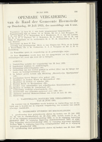 Raadsnotulen Heemstede 1953-07-30