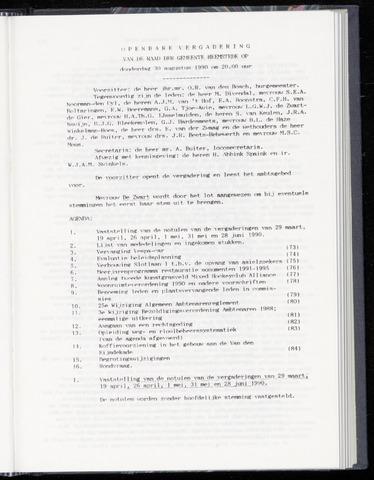 Raadsnotulen Heemstede 1990-08-30