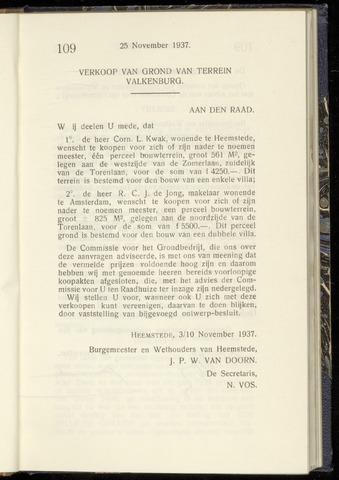 Raadsnotulen Heemstede 1937-11-25