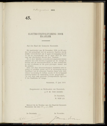 Raadsnotulen Heemstede 1919-08-05