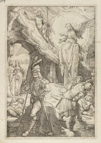 De opstanding [Matheus 21:1-10; Marcus 16:1-8; Lucas 24:1-12; Johannes 20: 1-18]. <br> Twaalfde prent uit een twaalfdelige, genummerde prentenserie met de Passie van Christus. <br> Gravure door Hendrick Goltzius; gemonogrammeerd; linksonder genummerd.