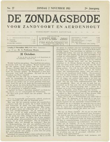 De Zondagsbode voor Zandvoort en Aerdenhout 1913-11-02