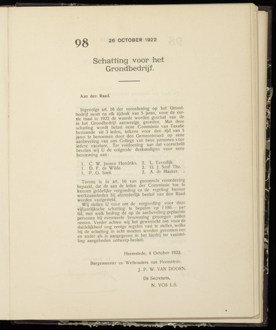 Raadsnotulen Heemstede 1922-10-26